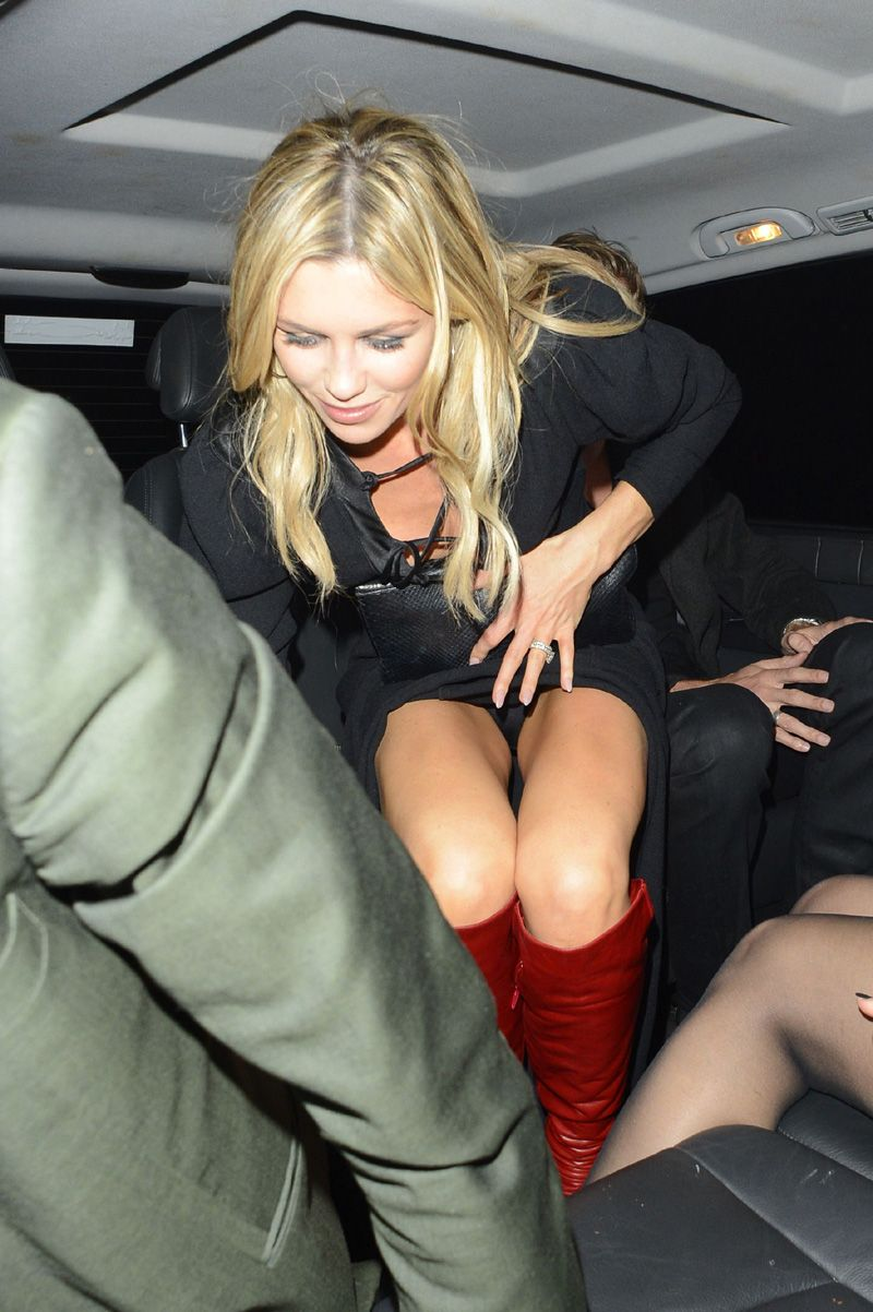 UK model Abbey Clancy black panties upskirt while getting out of a car