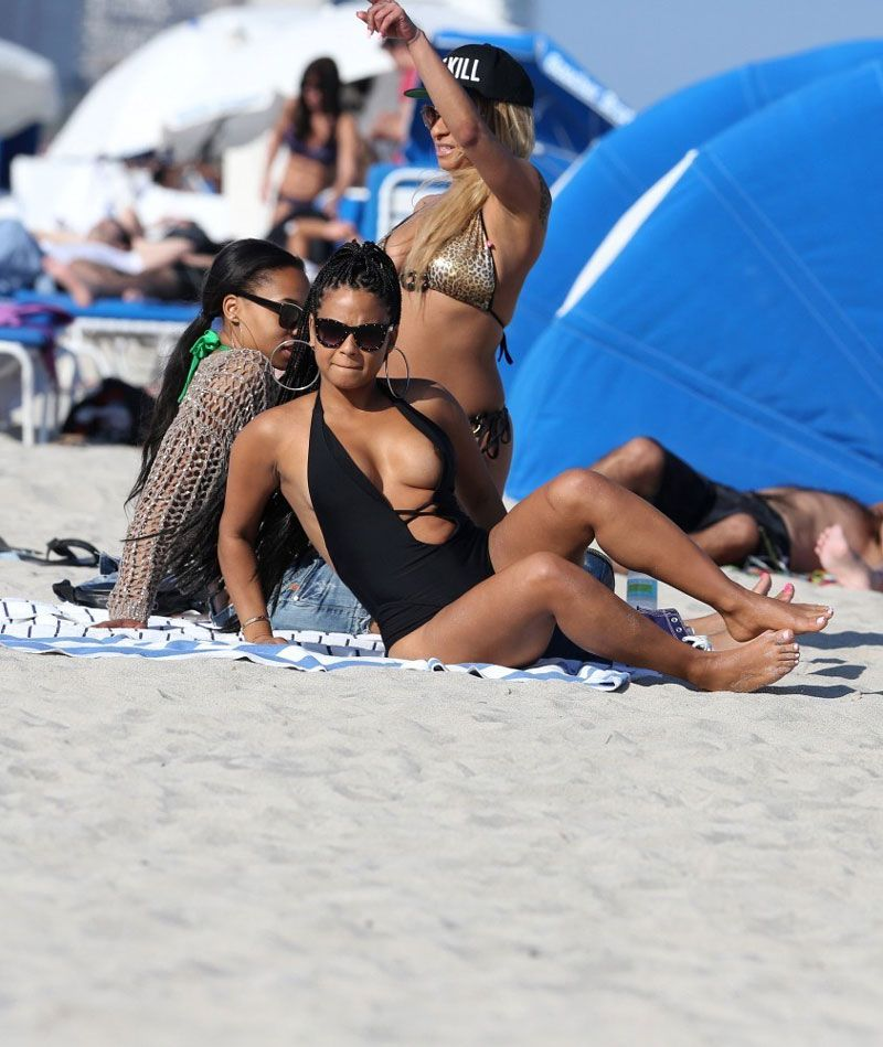 Christina Milian suffered a wardrobe malfunction at the beach in Miami ...