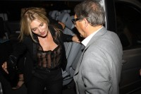 Kate Moss braless see through candid
