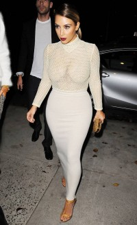 Kim Kardashian huge tits in mesh dress