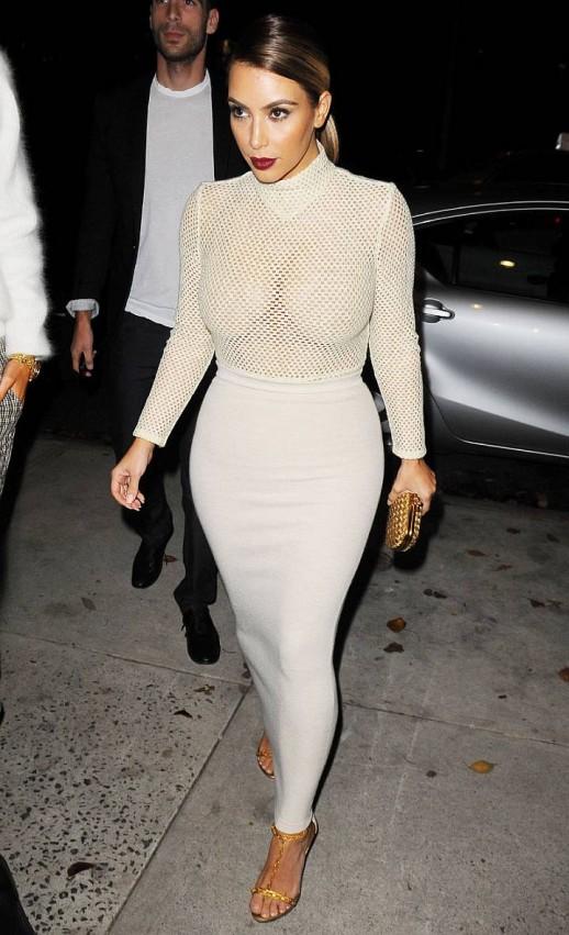 Kim Kardashian in mesh dress