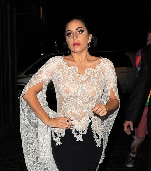 Lady Gaga braless see through