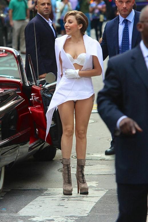 Lady Gaga white panty upskirt