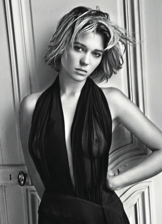 Lea Seydoux braless see through dress