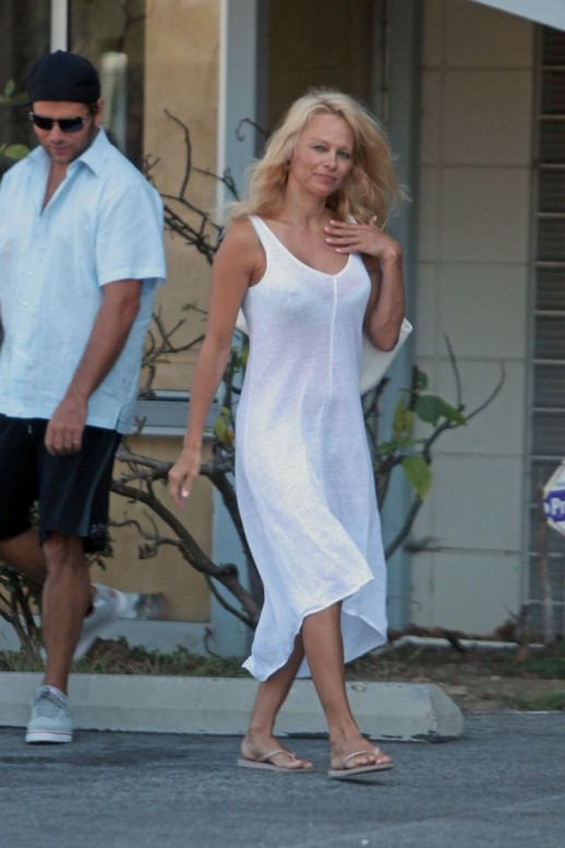 Pamela Anderson in a see-through dress