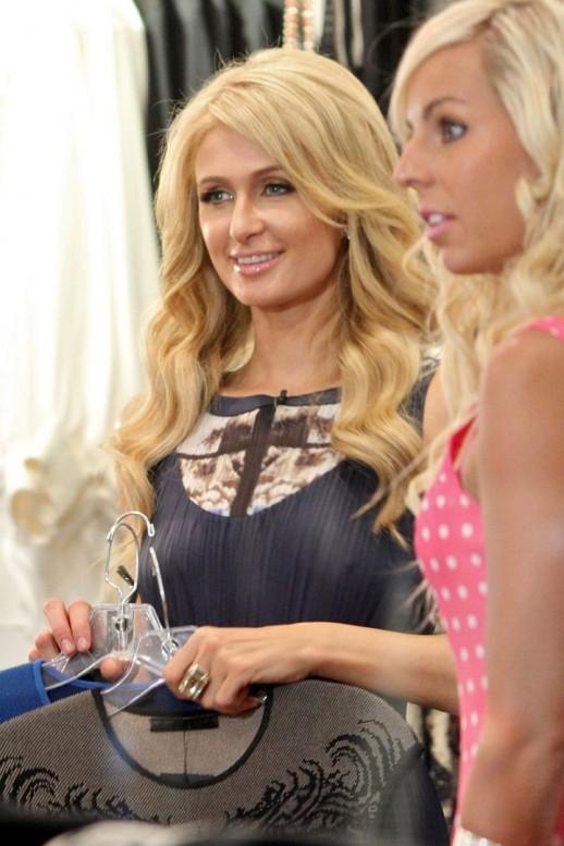 Paris Hilton braless see through dress