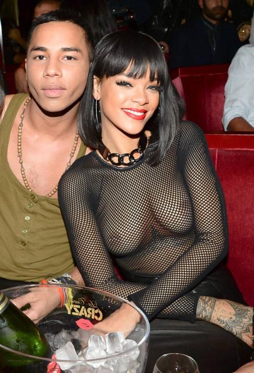Rihanna topless in mesh top