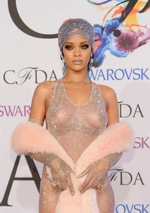 Rihanna braless see through mesh dress