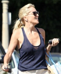 Sharon Stone braless see through top