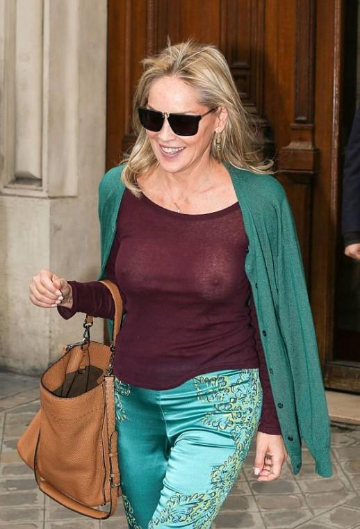 Sharon Stone see-through top