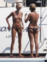 Toni Garrn topless in Ibiza